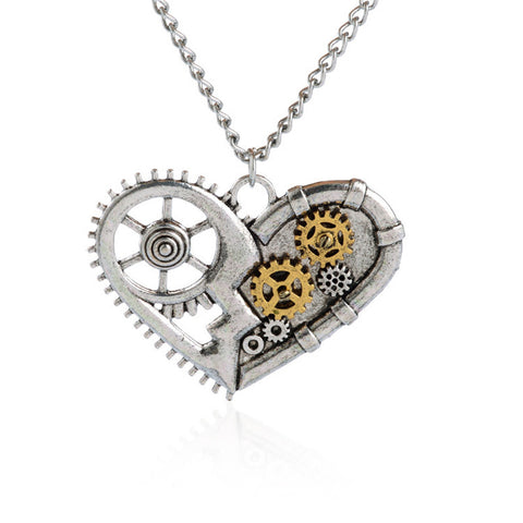 2017 Classic Evie Necklace Lover Heart Chain Statement Necklace Silver Plated Vintage Steampunk Gear Jewelry Mens Womens Gift