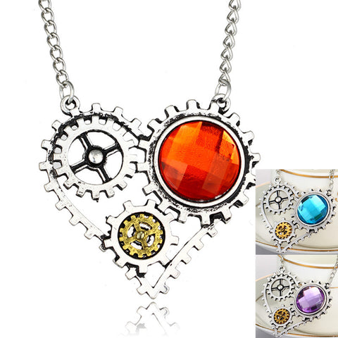 3 colors Antique steampunk heart rystal necklace pendant punk heart gear rivet necklace Fashion Jewelry For Women