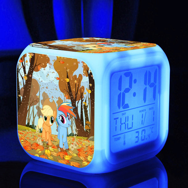 Touch light Princess Little Horse toys hobbies Digital alarmClock Thermometer Night Colorful Glowing toys action toy figures