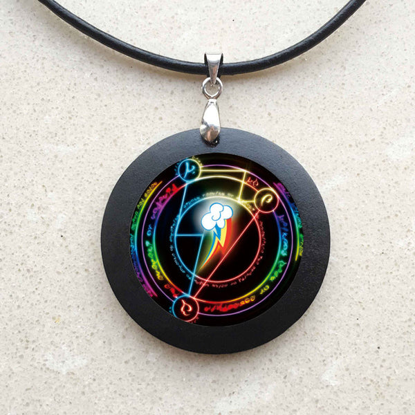 Rainbow Dash Arcane Circle My Friendship is magic MLP inspired glass cabochon dome pendant