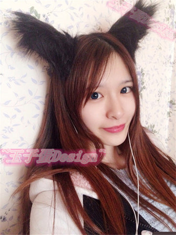 Lolita Fox ear fur hair Cute black Brown White Hair accessories Headwear