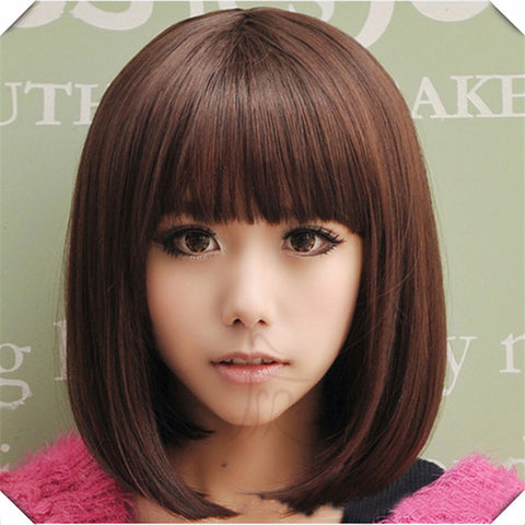 Blonde Short Wig Women's Cute Fringe Straight Bob Cosplay Wig Heat Resistant Full Hair Blonde Short Wig