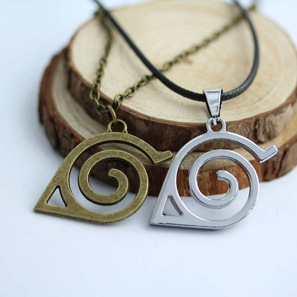 Japan Hot Anime Naruto: Leaf Symbol Necklace Naruto Cosplay Statement high quality pendant necklace 2colors
