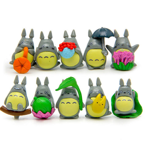 10pcs/lot Mini Totoro figure umbrella toy set 2016 New kawaii Japanese Anime My neighbor totoro figuren juguete party decoration