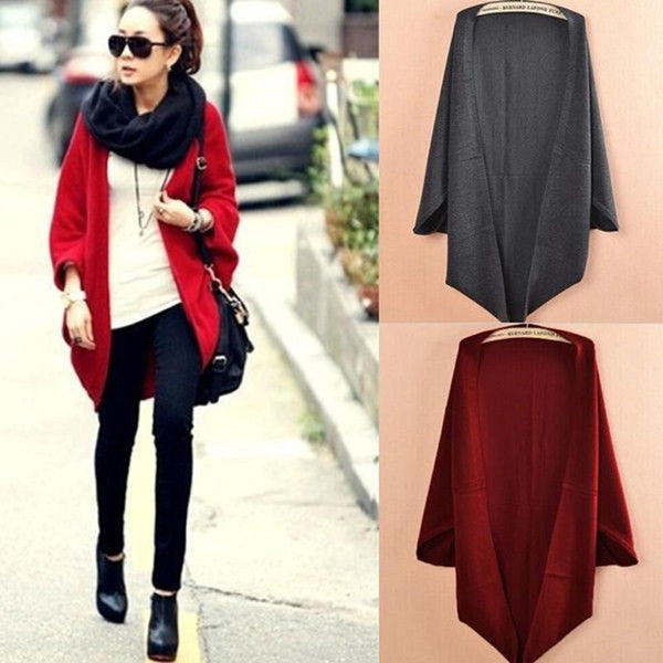 2016 New Fashion Women Casual Korea Loose Shawl Batwing Sleeves Lady Knit Sweater Coat Woolen Women Cardigans Jacket