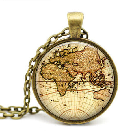 Free shipping Vintage Map Pendant,Steampunk Necklace,Map Jewelry,World Map necklace ,World Map Pendant