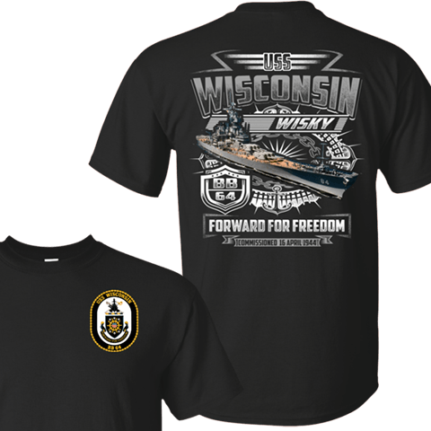 USS WISCONSIN BB 64 T SHIRTS AND HOODIE