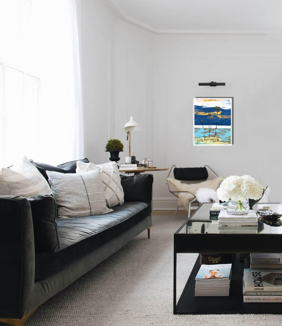 Coastal Modern Art on living room wall