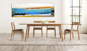 Coastal Modern Abstract on Dining Room Wall