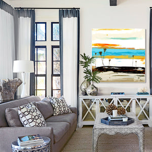 Bright Abstract Art in Modern Living Room