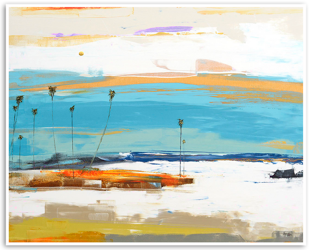 Abstract painting of the famous The Wedge - Steve Adam Gallery Laguna beach