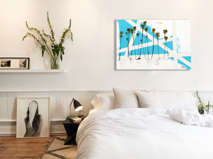 Art, Abstract, in bedroom over bed