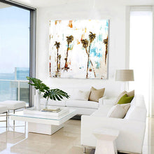 Palm Tree Painting in Coastal Living Room