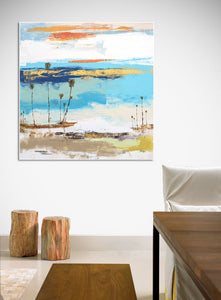 complimentary colored coastal art