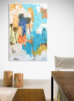 Load image into Gallery viewer, Coastal Modern Abstract Action Painting on Wall