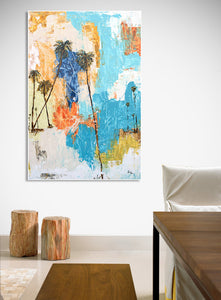 Coastal Modern Abstract Action Painting on Wall