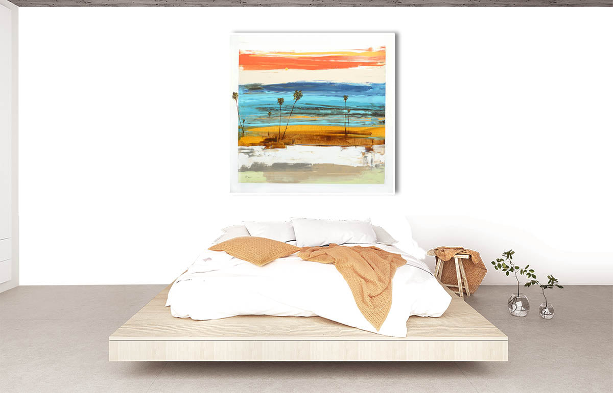 A Modern Bedroom with Steve Adam Original Seascape Abstract