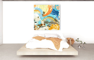 Steve Adam Original Painting over modern Bedroom