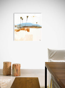 Quiet Coastal Modern Abstract on Dining Room Wall