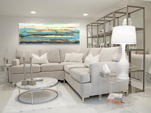 Horizontal Abstract Art - Contemporary Living Room