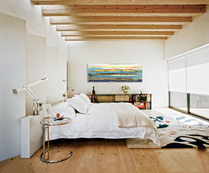 Modern Bedroom with Exposed beams and Steve Adam Original on wall