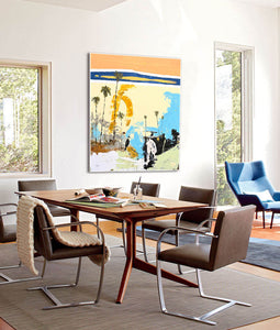 Large Coastal Abstract Artwork in Living Room