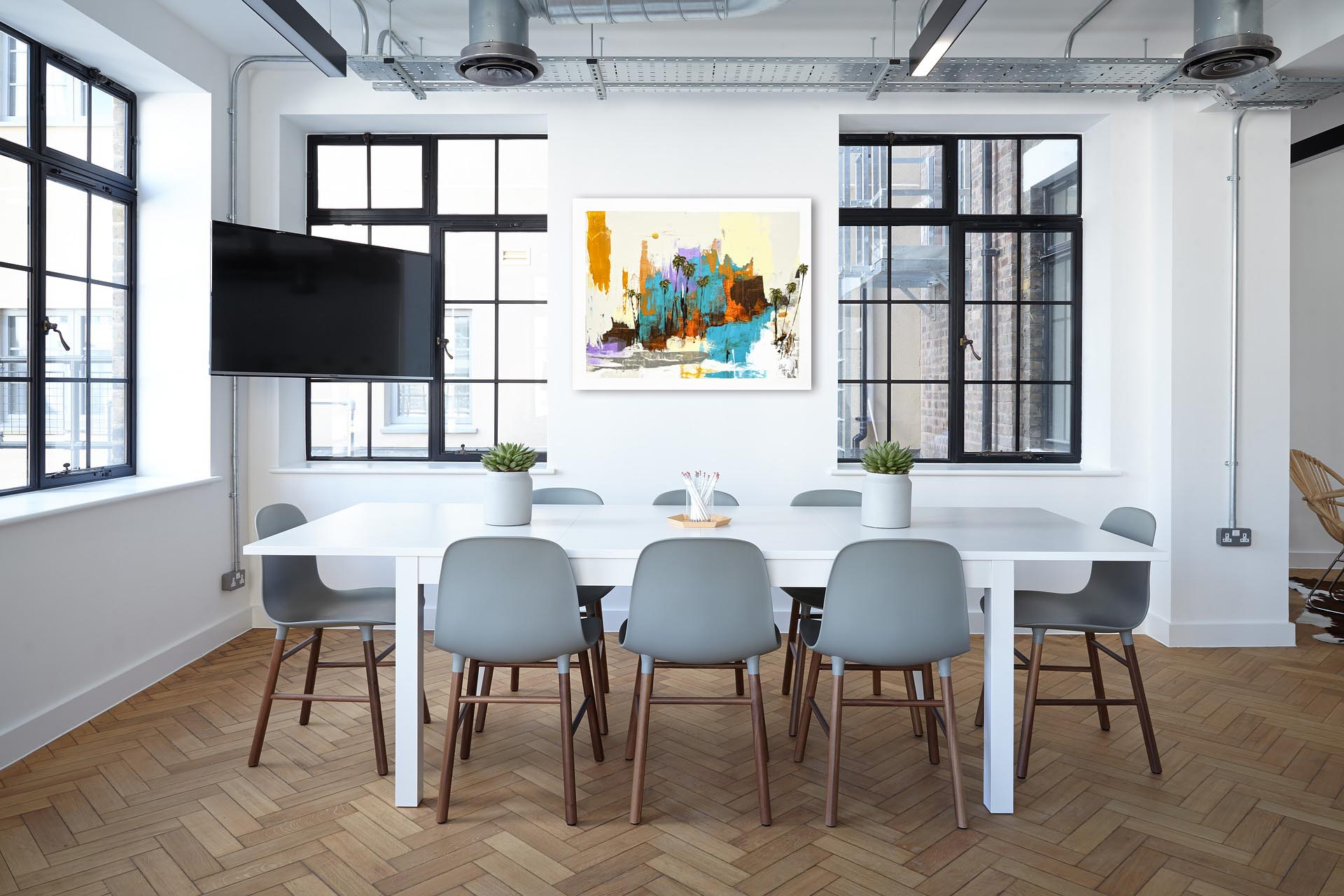 Abstract painting in Modern Industrial work space