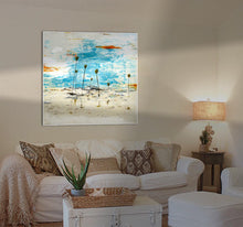 Light hitting a Steve Adam Painting in Living Room