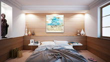 Coastal Seascape Art in Contemporary Bedroom