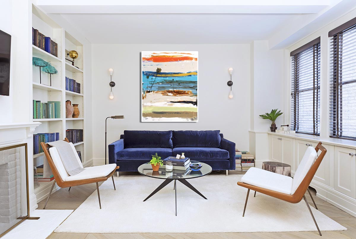 Coastal Abstract Series in Modern Living Room