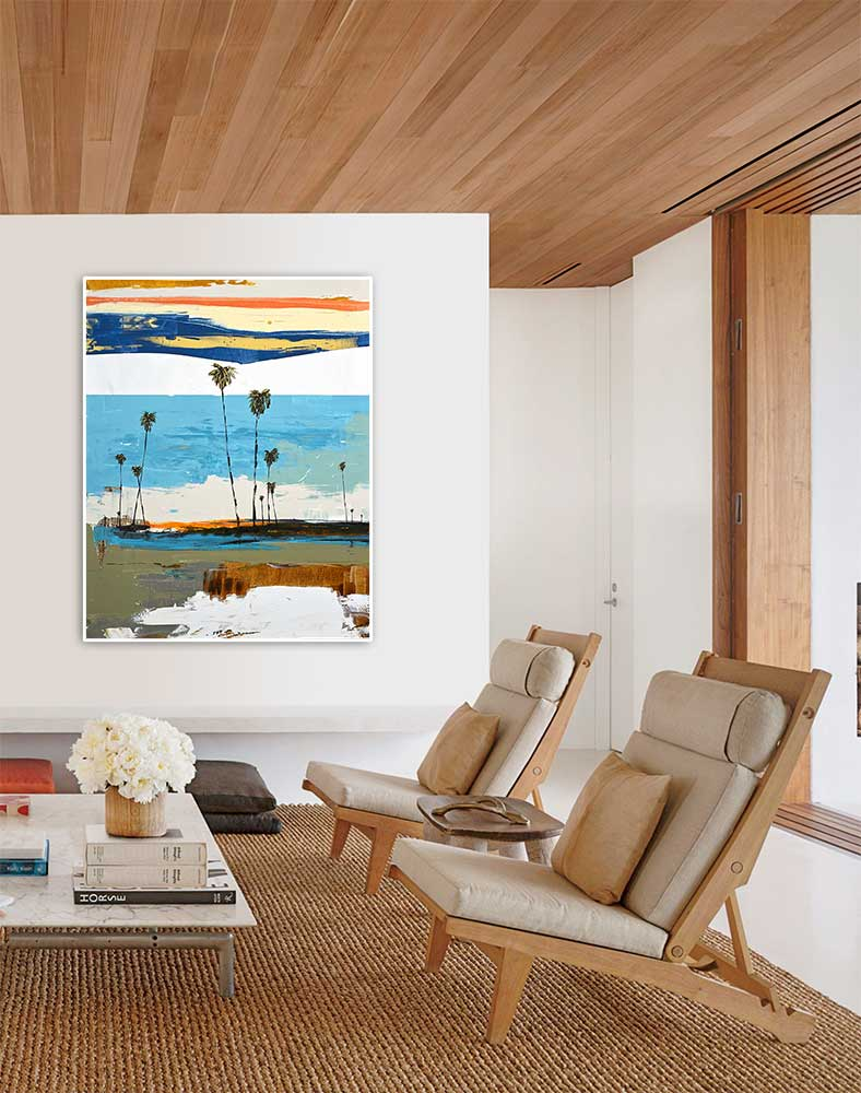 Charismatic Coastal Abstract Painting in Modern Contemporary Living Room