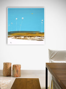 Abstract Palm Seascape Art in Room