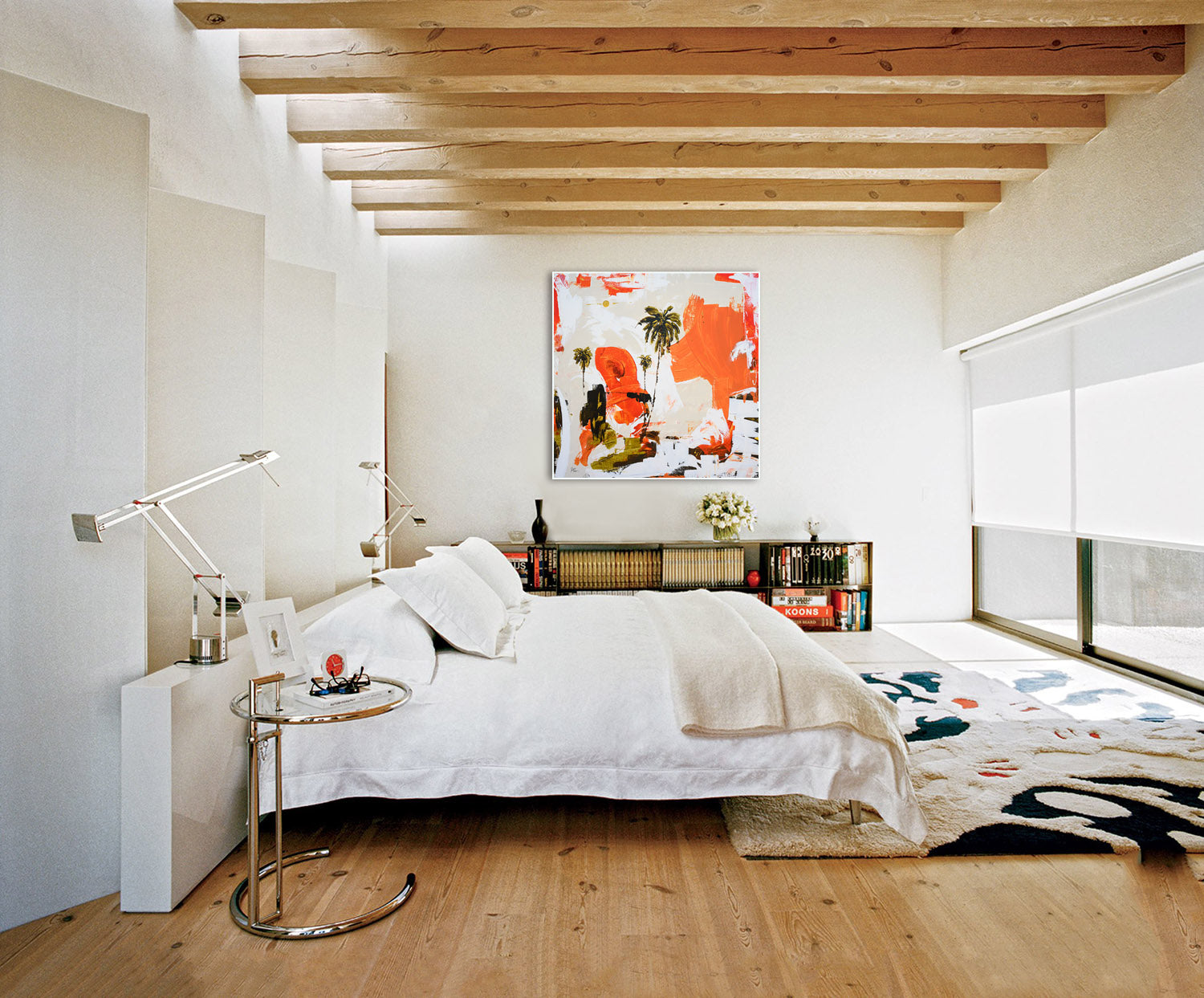 Modern interior with abstract art on wall