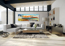 Abstract Palm Seascape series in industrial modern living room