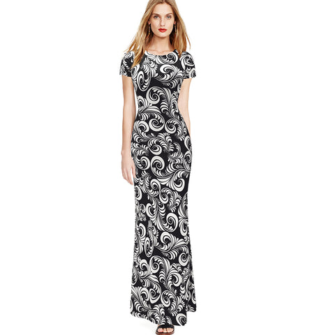 Vfemage Womens Spring Summer Elegant Vintage Print Pinup Short Sleeve Casual Party Fit Bodycon Pencil Long Maxi Dress 2076