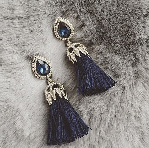 2015  Fashion Jewelry Long Pendientes Earrings  Blue Stone Tassel Metal Chain Earrings For Women Brincos