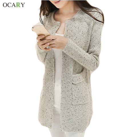 New Fashion Women Knitted Sweater Women Winter Sweater With Pocket Cardigan Femme Long Cardigan Maglioni Donna
