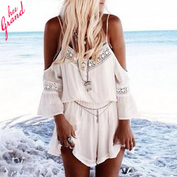 TANGNEST Summer Sexy Short Chiffon JUMPSUIT 2017 Summer Women Off Shoulder Hollow Out Casual PLAYSUIT Ladies Sexy Rompers WKL404