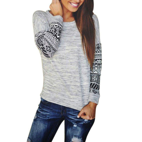 Brief Women Geometric Print Loose Pullover Shirt Long Sleeve Thin Sweater Blouse