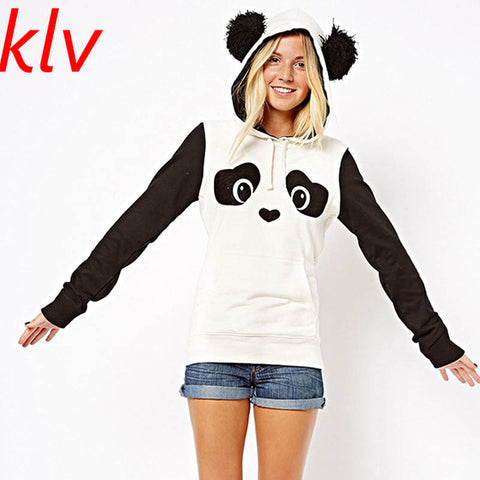 KLV 2017 New Fashion High Quality Women's  Winter Warm Panda Fleece Pullover Jumper Hooded Sweater Coat Tops