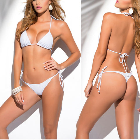 Solid White Classic Thong Bikini Women's Swimwear Summer Beach String Bikinis Sexy Female Bathing Suit Multi Color Swimsuit 1667
