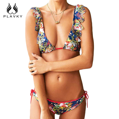 2017 Sexy Ladies V Neck Floral Hollow Out Thong Biquini Ruffled Swimsuit Swim Wear Bathing Suit Swimwear Women Brazilian Bikini