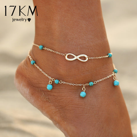 17KM New Double Infinite Beads Pendant Anklet Foot Chain Summer Bracelet Charm 2 Color Anklets Foot Jewelry Gift free shipping