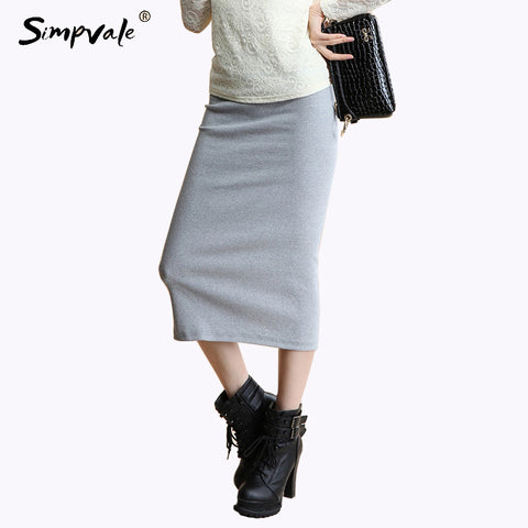 Women Thick Sexy Chic Pencil Skirts Office Look Natural Waist Mid-Calf Solid Skirt Casual Slim Hip Placketing