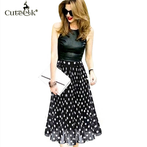 2017 Vintage pleated skirts Polka Dot Chiffon Skirt all-match Waist Fold slim Skirts Women's waisted Midi Skirt Ukraine Black