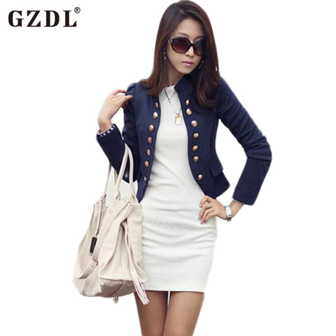 GZDL Spring Autumn Cardigan Women Long Sleeve Double Breasted Coat Casual Short Top Slim Fitted Blazers Jackets Feminino CL1076
