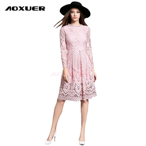 Women Autumn Winter Dress New Fashion Sexy Hollow Long Sleeves Knee Length Elegant Party Lace Dress Red Black Size M XXL 755