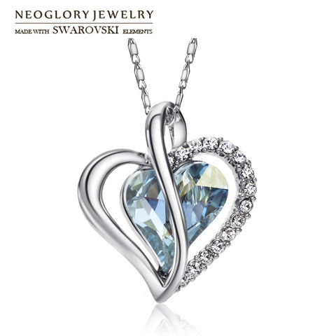 Neoglory Austria Crystal & Rhinestone Long Charm Necklace Romantic Love Heart Style Alloy Plated Trendy Lady Classic Party