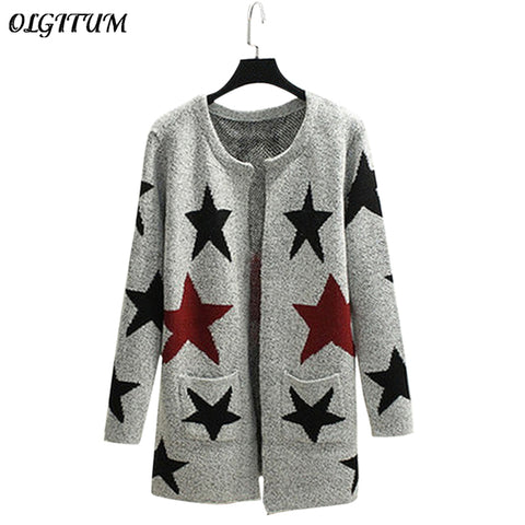 2017 New Autumn Spring Women Sweater Cardigans Casual Warm Long Design Female Knitted Sweater Printed Cardigan Sweater