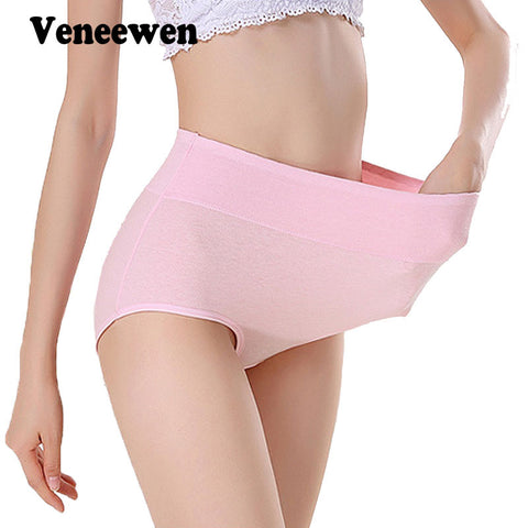 Women Sexy cotton breathable Panties Plus Size High Waist Women's Underwear Panty Female Body Shaping Briefs M-XXXL